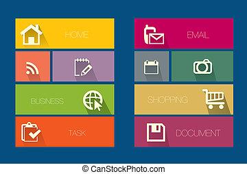 plat, pictogram, basis, set