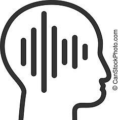 plat, pictogram, denken, vector, geluid