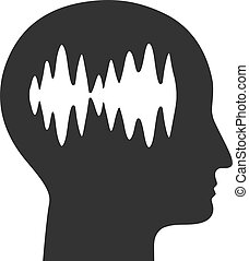 plat, pictogram, hersenen, vector, golven