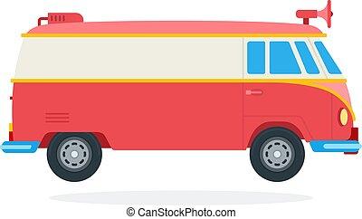 plat, pictogram, illustratie, straat, bestelbus, vrijstaand, vector, megafoon, voedingsmiddelen