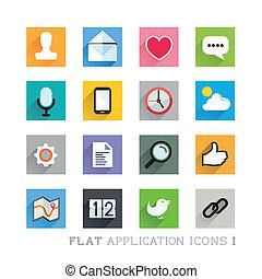 plat, pictogram, ontwerpen, -, toepassingen