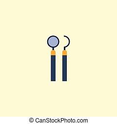 plat, pictogram, spiegel, met, sonde, element., vector, illustratie, van, plat, pictogram, uitrusting, vrijstaand, op, schoonmaken, achtergrond., groenteblik, zijn, gebruikt, als, tandarts, sonde, en, spiegel, symbols.