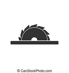 plat, pictogram, zaag, circulaire, bladen