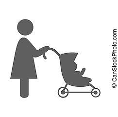 plat, pictogramme, isolé, mère, bébé, blanc, poussette, ...