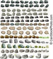 plat, pierre, ensemble, dessin animé, vecteur, rocher, herbe, style.
