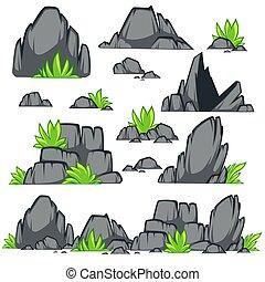 plat, pierre, ensemble, différent, style., boulders., rocher, dessin animé
