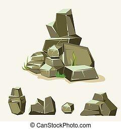 plat, pierre, ensemble, isométrique, galets, différent, grass., rocks., rocher, dessin animé, style., 3d