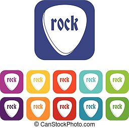 plat, pierre, ensemble, rocher, icônes