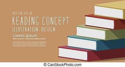 plat, pile, livres, vector., bannière, titre
