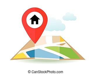 plat, pin., carte, map., marqueurs, vecteur, emplacement, maison, icon., indicateur