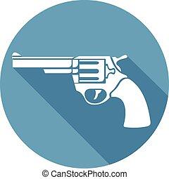 plat, (pistol, vecteur, revolver, icône