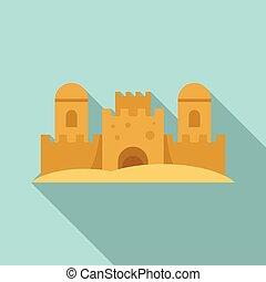 plat, plage, icône, style, château