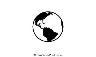 plat, planète, rotation, fond, la terre, icône