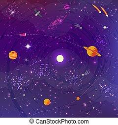 plat, planètes, étoiles, fond, espace