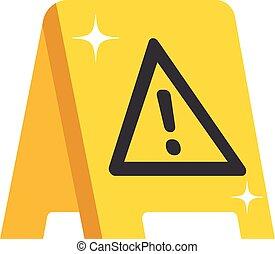plat, plancher, signe., avertissement, conception, mouillé