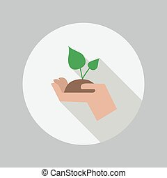 plat, plant, eco, hand houdend, icon.