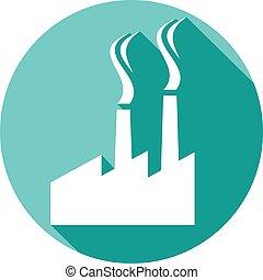 plat, plant, industriebedrijven, pictogram