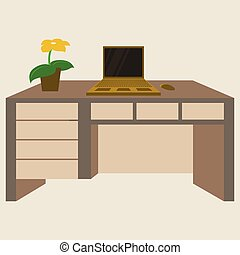plat, plante, angle, sommet, illustration, vecteur, lieu travail, bureau, informatique, vue