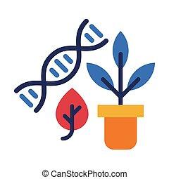 plat, plante, biologie, fond blanc, concept, structure, vecteur, adn, leçon, pot fleurs, style, illustration