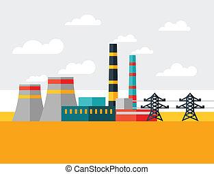 plat, plante, industriel, puissance, illustration, style.