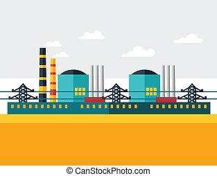 plat, plante, industriel, puissance, nucléaire, illustration, style.