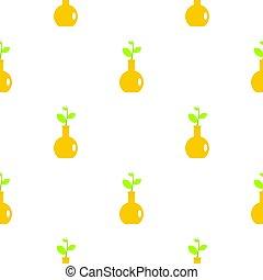 plat, plante, modèle, jaune, vase, vert