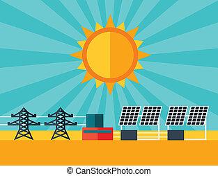 plat, plante, puissance, énergie, illustration, solaire, style.