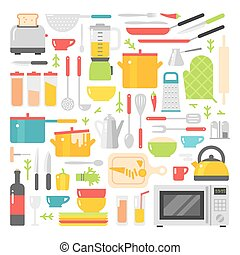 plat, plats, icônes, isolé, vecteur, fond, blanc, cuisine