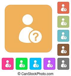 plat, plein, afgerond, iconen, onbekend, gebruiker