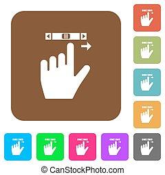 plat, plein, afgerond, iconen, overhandigde, rechts, boekrol, gebaar, links