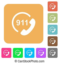 plat, plein, afgerond, noodgeval, iconen, roep 911