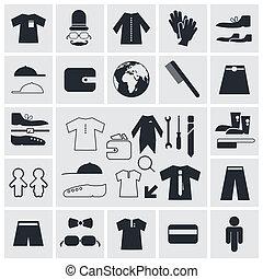plat, plein, iconen, -, vector, mode, kleren