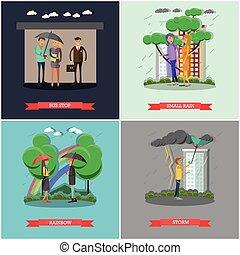 plat, pluvieux, concept, ensemble, style, vecteur, temps, affiches