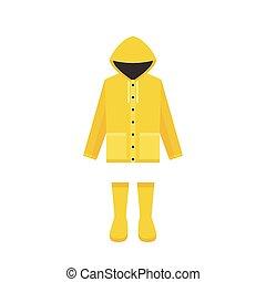 plat, pluvieux, imperméable, saison, bottes, jaune,...