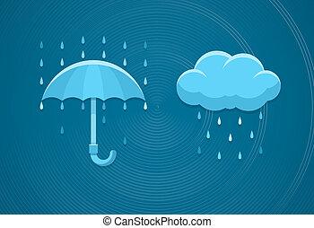 plat, pluvieux, parapluie, icônes, pluie, temps, gouttes, ...