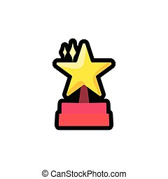 plat, podium, étoile, contour, illustration