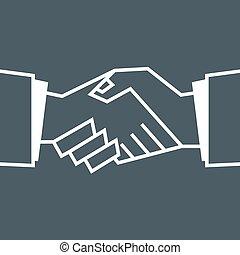 plat, poignée main, icon.