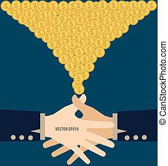 plat, poignée main, moderne, argent., illustration, vecteur, conception, duper