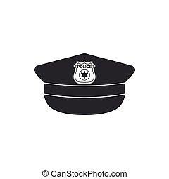 plat, police, icône, isolated., signe., casquette, illustration, vecteur, cockade, chapeau, design.