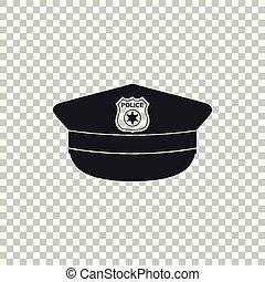 plat, police, icône, signe., casquette, isolé, illustration, arrière-plan., vecteur, cockade, chapeau, transparent, design.