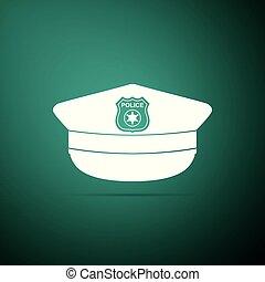 plat, police, icône, signe., casquette, isolé, illustration, arrière-plan., vecteur, vert, cockade, chapeau, design.