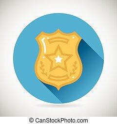 plat, politie, bescherming, symbool, moderne, illustratie, vector, ontwerp, officier, achtergrond, bage, modieus, wet, order, pictogram