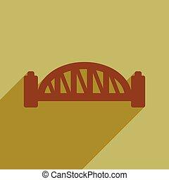 plat, pont, port, long, sydney, ombre, icône
