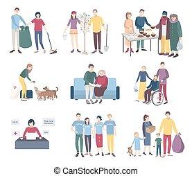 plat, portion, aide, spontanéité, gens, scavengery, set., ...