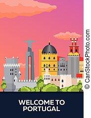 plat, portugal, affiche, voyage, illustration, vecteur, skyline.