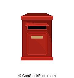 plat, postal, box., récipient, newspapers., métal, vecteur, ...