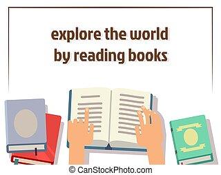 plat, poster, boekjes , ontwerp, menselijke handen, lezende