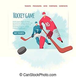 plat, poster., illutration, abstract, bouwterrein, header, style., spelers, vector, ontwerp, hockey, mal, sportende, spandoek, of