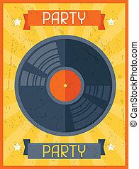 plat, poster, ontwerp, retro, feestje, style.