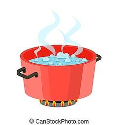 plat, pot, het koken, water, koken, kachels, vector, ontwerp, rood, stoom, pan